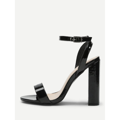 Peep Toe Block Heeled PU Sandals