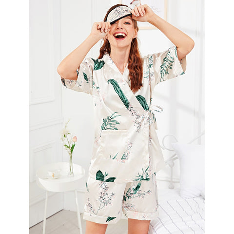 Flower Print Wrap Pajama Set With Eye Mask