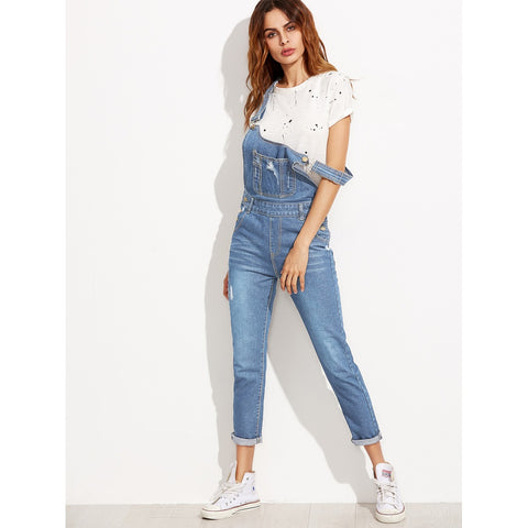 Ripped Overall Jeans With Pocket