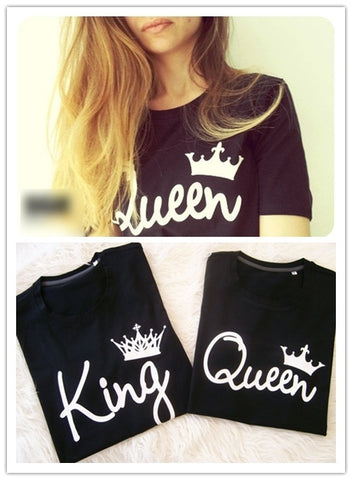 King Queen Crown Letter Print