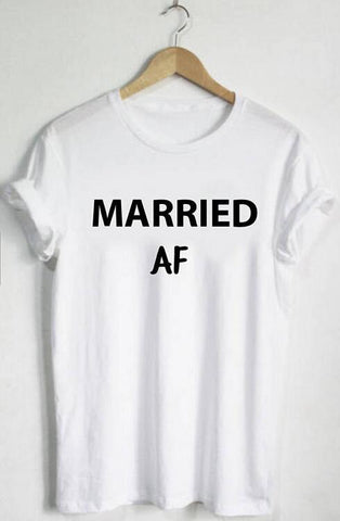 MARRIED AF Letter Print T-Shirt