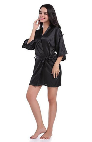 Satin Night Robe Lace Bathrobe