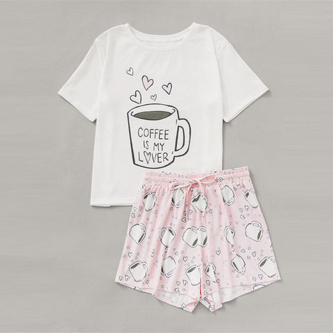 Top With Drawstring Waist Shorts Pajama Set