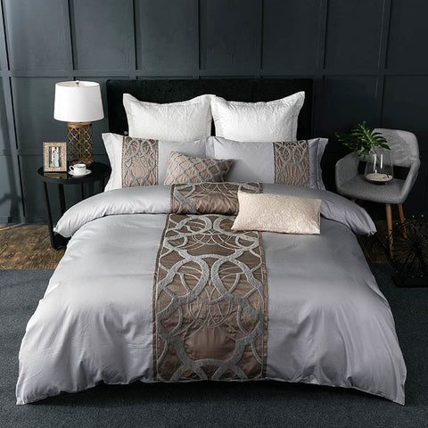4/7Pcs Silver Grey Egyptian Cotton Bedding