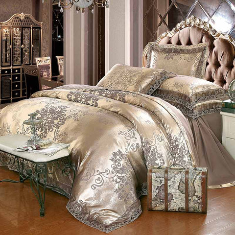 Luxury Jacquard Bedding Set Silk Cotton Duvet Cover