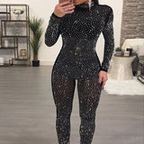 Women's Sexy Sparkly Long Sleeve Jumpsuit Romper