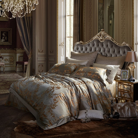 Silk Silver Jacquard Luxury European Set