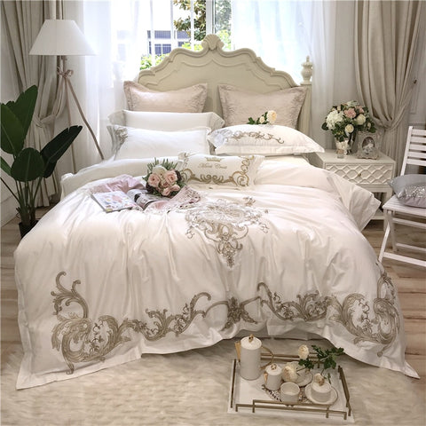 Luxury Embroidery 80S Egyptian Cotton Bedding Set