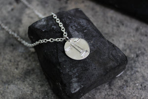 Sustainable face necklace. Handmade in Denmark and created with reused sterling silver