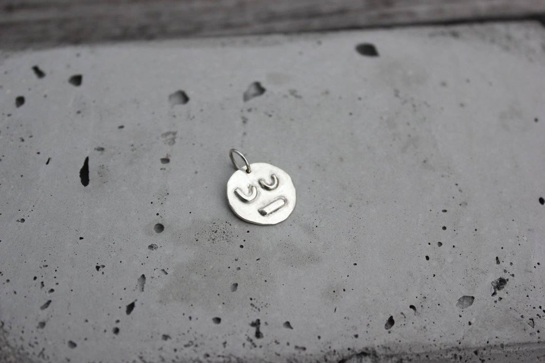 Life faces one of a kind handmade eco silver pendant necklace