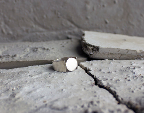 product picture of minimal inspired signet sustainable unisex ring