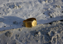 sustainable gold plated Brick C ring. Handmade in recycled sterling silver gold-plated