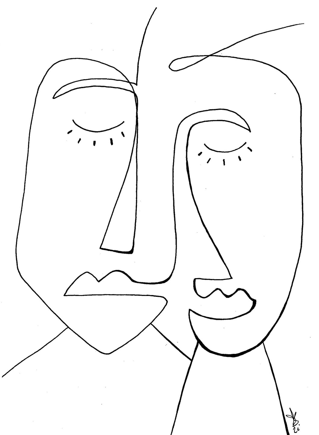 Line drawing - A man and a woman
