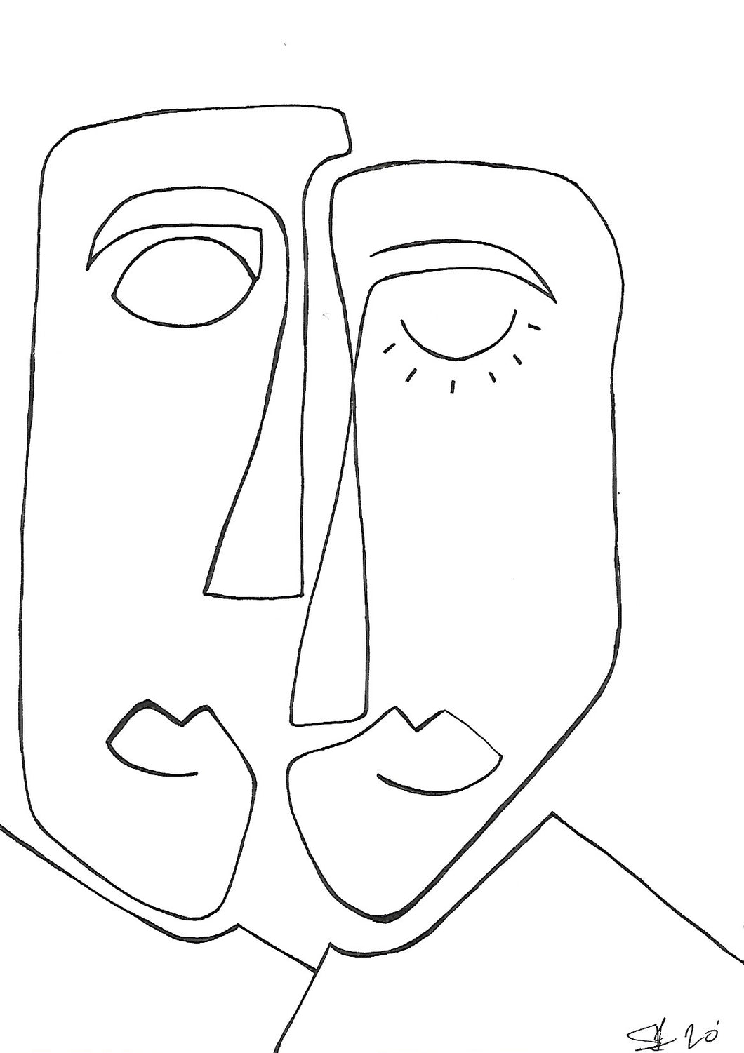cubistic line drawing of a man and woman