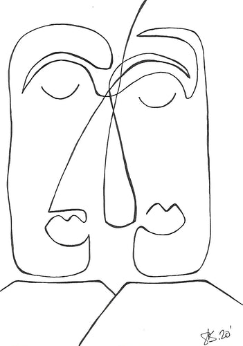 cubistic line drawing of two people. danish art