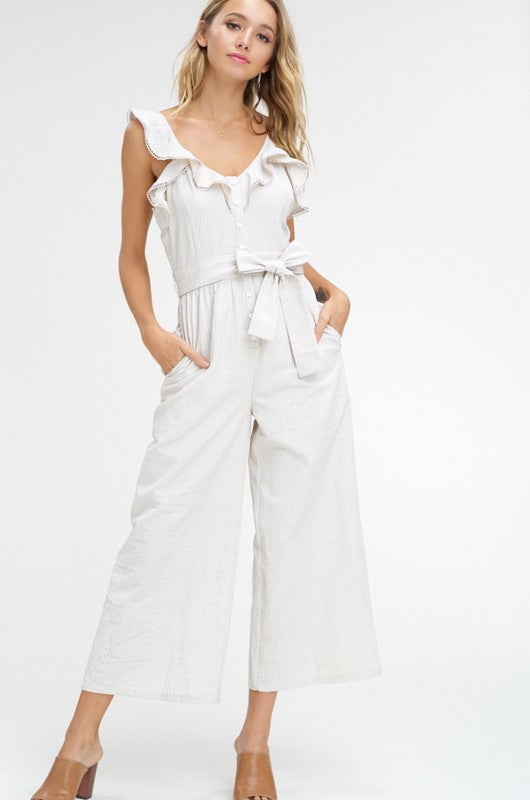 Charlie Ruffled Sleeve Pocketed Crop Jumpsuit