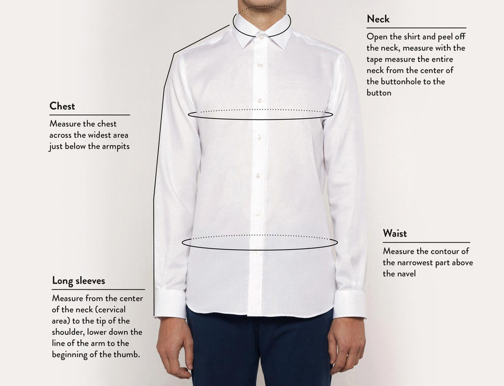 Size guide shirt man front