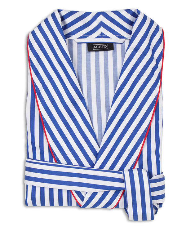 BLUE AND WHITE STRIPED COTTON ROBE