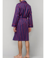 RED AND BLUE STRIPED COTTON ROBE