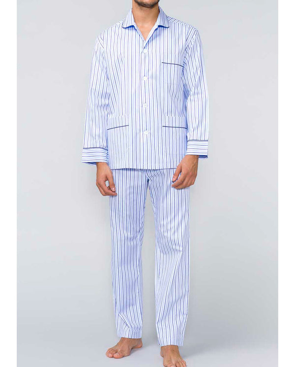 BLUE STRIPED COTTON PAJAMA SET