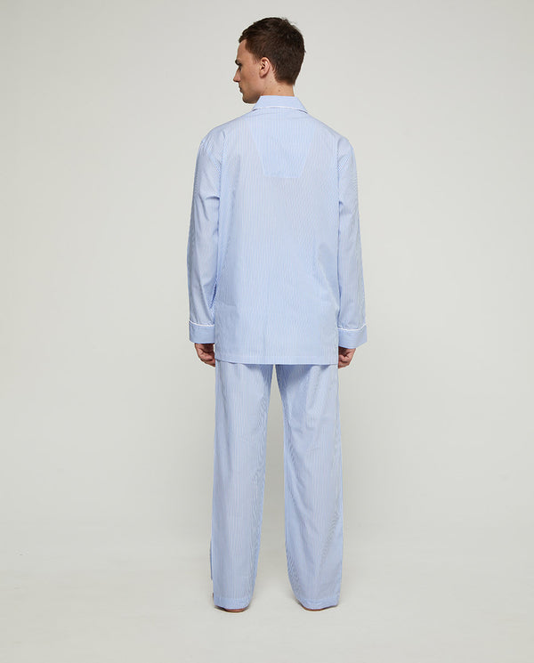 BLUE STRIPED COTTON POPLIN PAJAMA SET