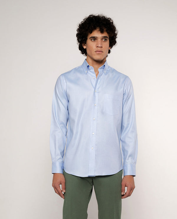 BLUE BUTTON DOWN CASUAL OXFORD SHIRT by MIRTO