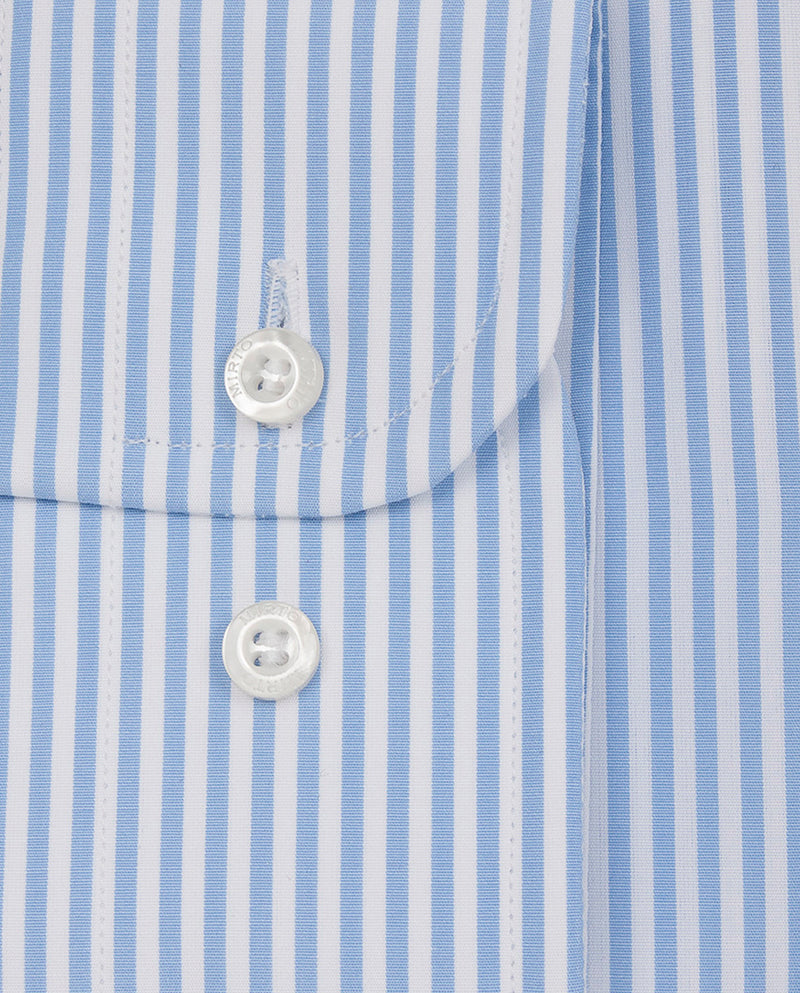 BLUE SPREAD-COLLAR STRIPED COTTON DRESS SHIRT