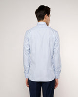 SPREAD COLLAR BLUE-STRIPED TAILORED-FIT SHIRT by M