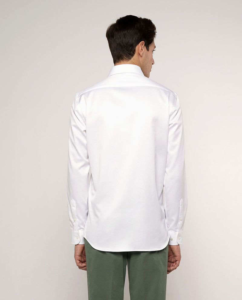 SPREAD COLLAR WHITE TEXTURED-COTTON DRESS SHIRT