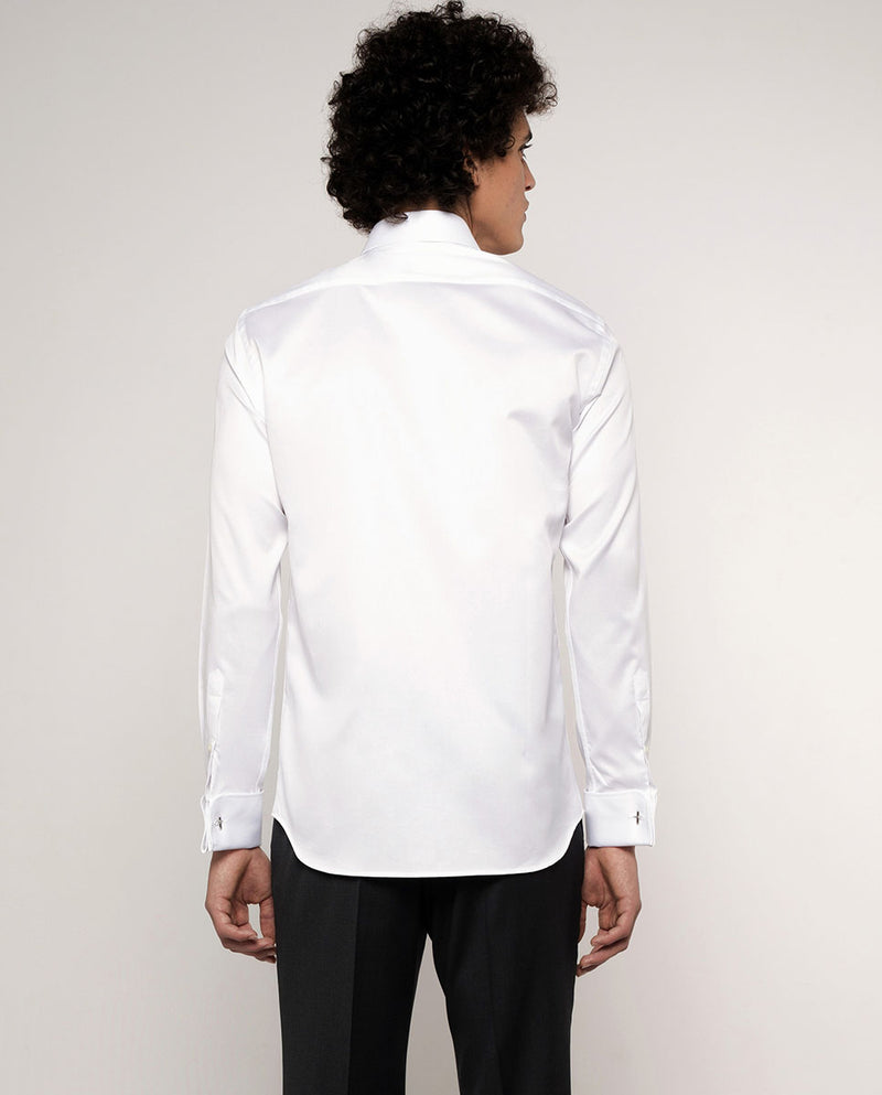 CLASSIC COLLAR TEXTURED-COTTON TUXEDO SHIRT