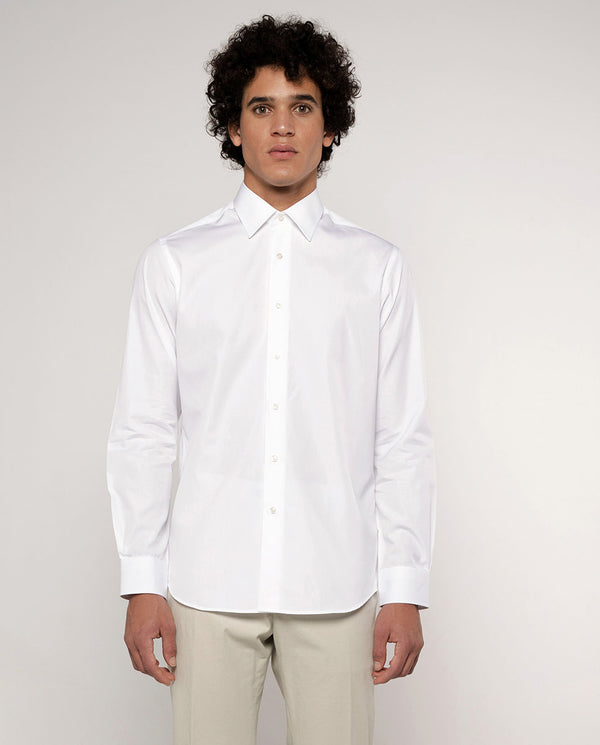 POINTED COLLAR WHITE-POPLIN DRESS SHIRT