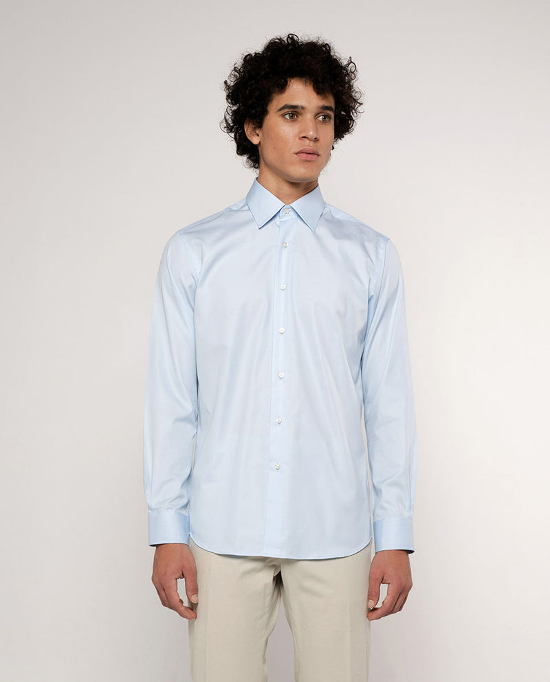 POINTED COLLAR BLUE-POPLIN DRESS SHIRT