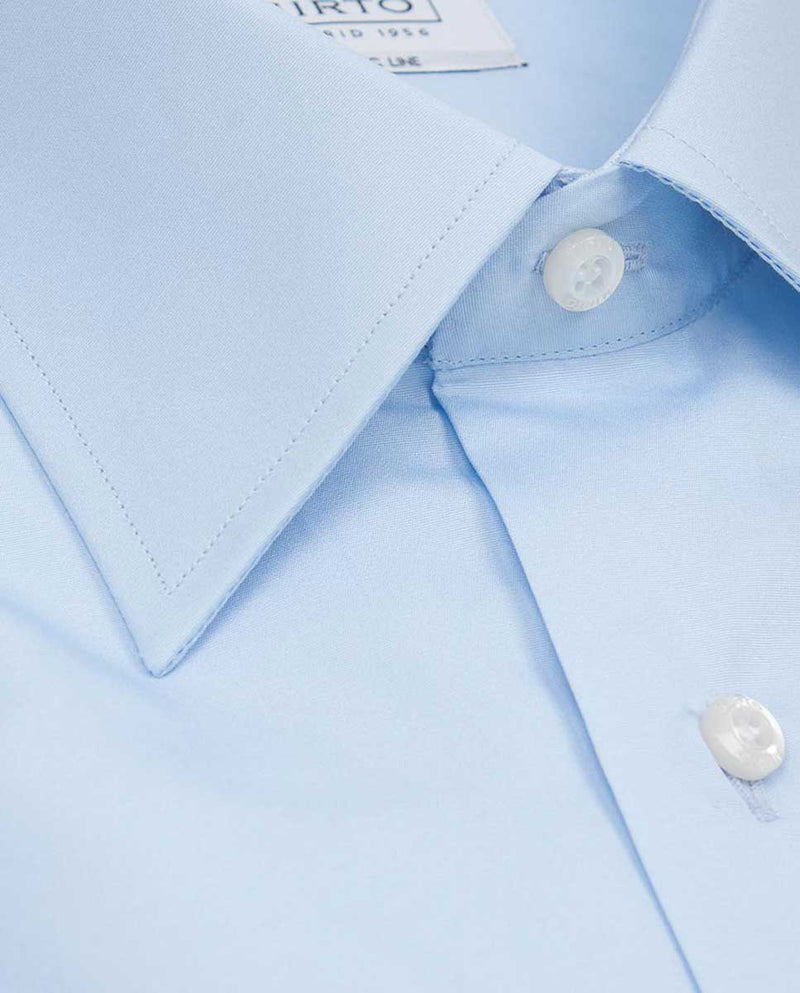 POINTED COLLAR BLUE-POPLIN DRESS SHIRT by MIRTO