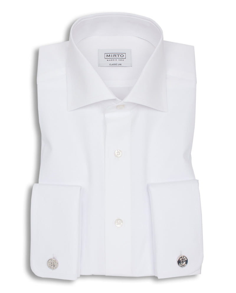 SPREAD COLLAR WHITE-POPLIN DRESS SHIRT by MIRTO