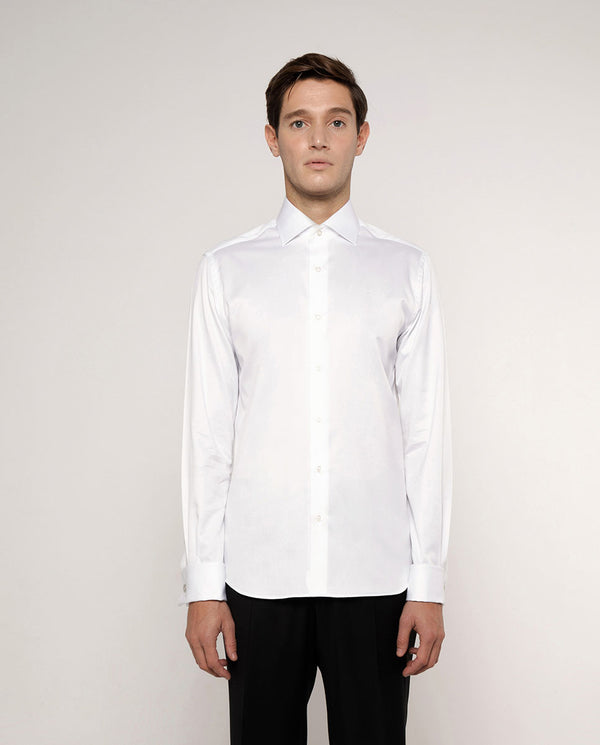 SPREAD COLLAR WHITE POPLIN DRESS SHIRT