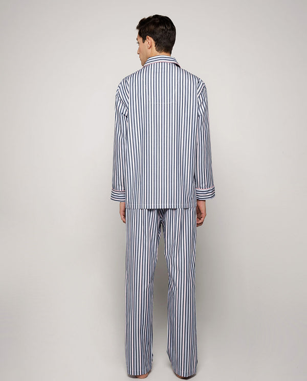 DARK-BLUE STRIPED COTTON POPLIN PYJAMA SET by MIRT