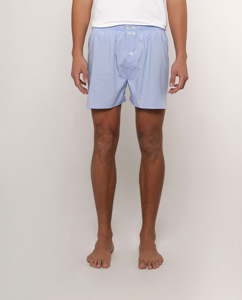 BLUE GINGHAM COTTON BOXER SHORTS