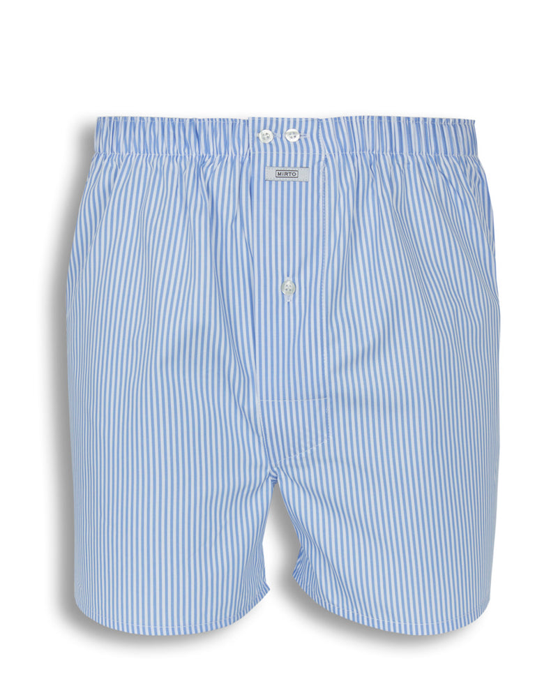 BLUE STRIPED COTTON BOXER SHORTS by MIRTO