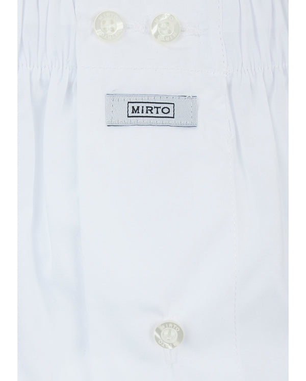 WHITE COTTON-POPLIN BOXER SHORTS by MIRTO