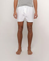 WHITE COTTON-POPLIN BOXER SHORTS
