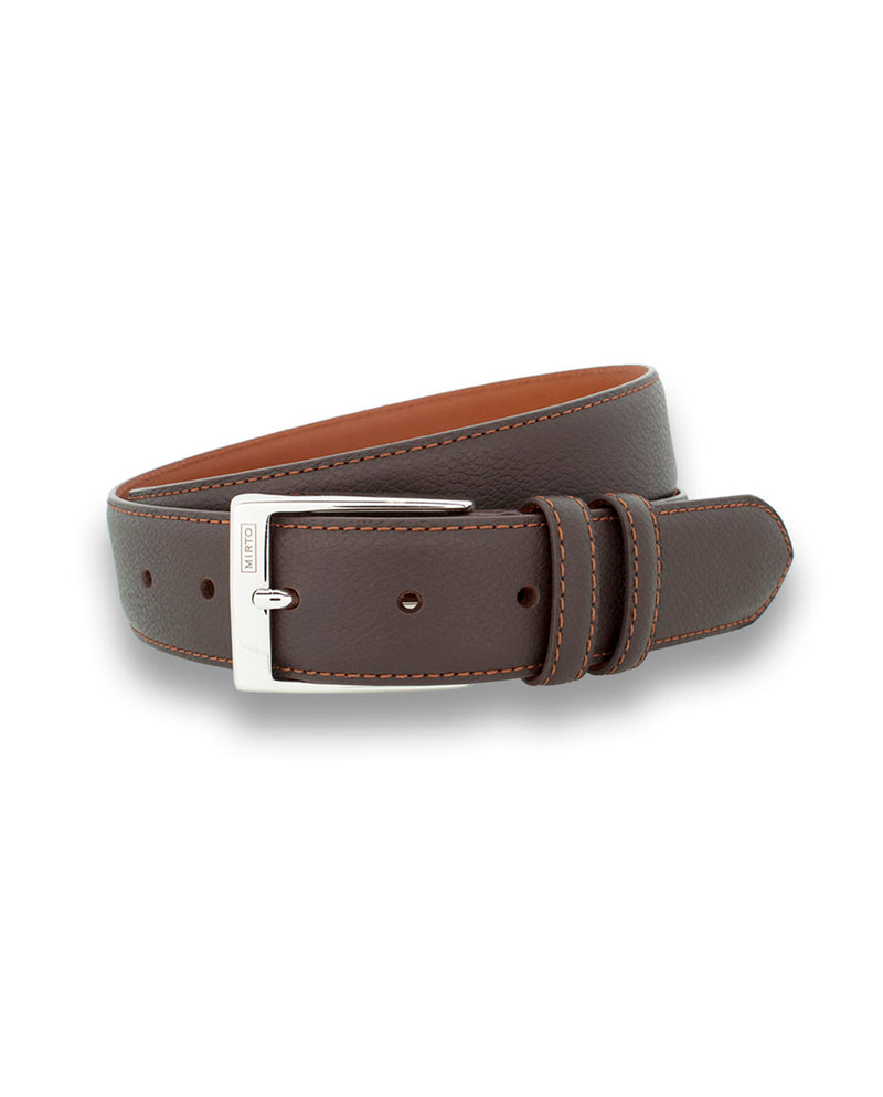 BROWN DRESS GRAIN-LEATHER BELT
