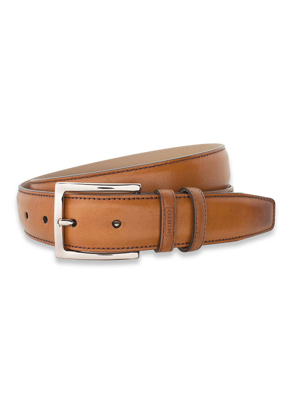 CARAMEL LEATHER DRESS BELT