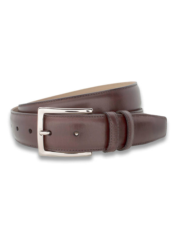 BROWN LEATHER DRESS BELT
