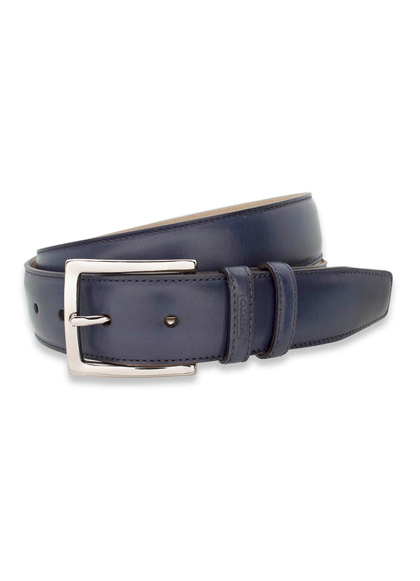 NAVY LEATHER DRESS BELT