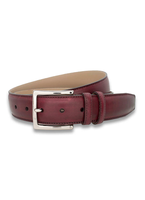 BURGUNDY LEATHER DRESS BELT