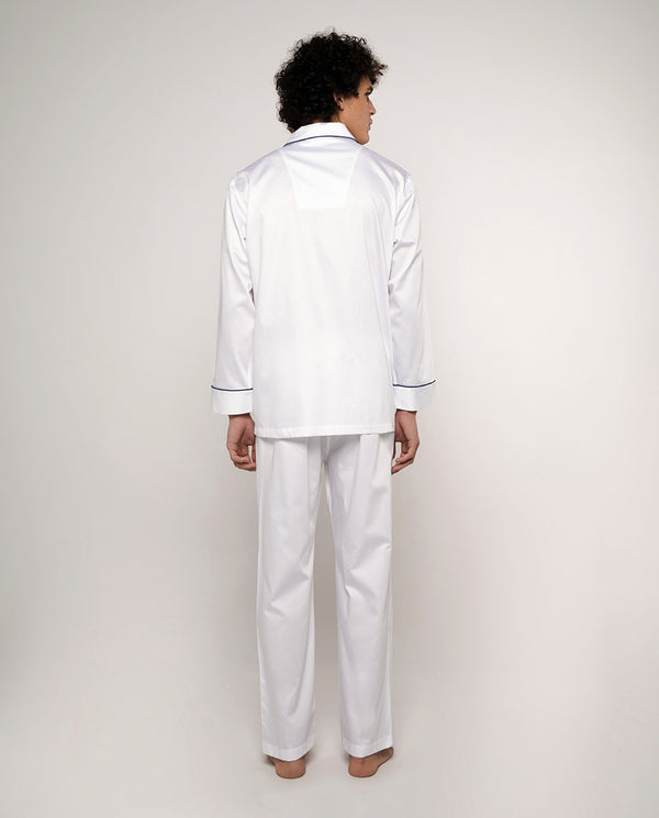 WHITE COTTON SATIN PAJAMA SET