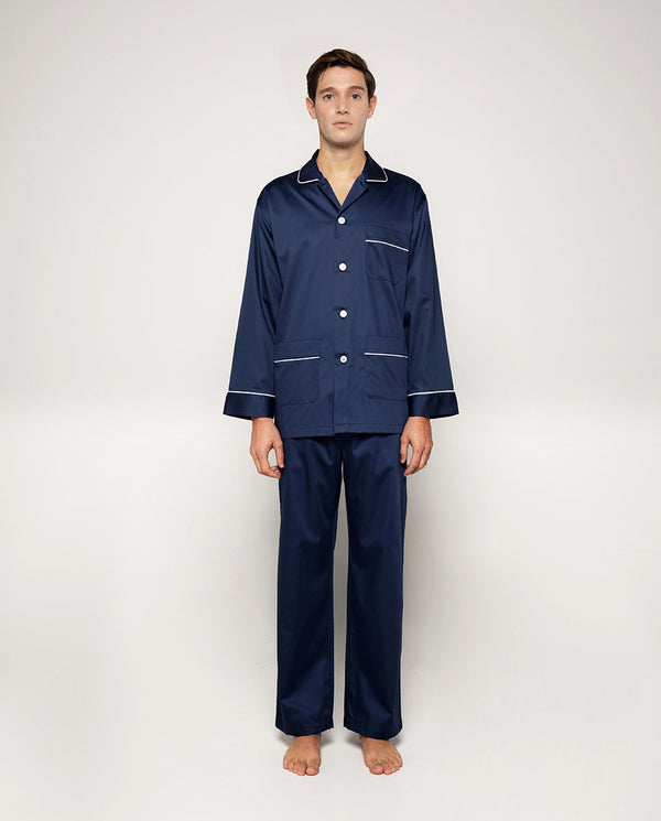 NAVY COTTON SATIN PAJAMA SET