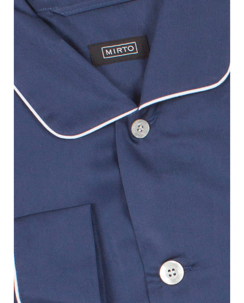 NAVY COTTON SATIN PYJAMA SET by MIRTO