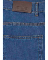INDIGO STRAIT-FIT 5-POCKET DENIM TROUSERS