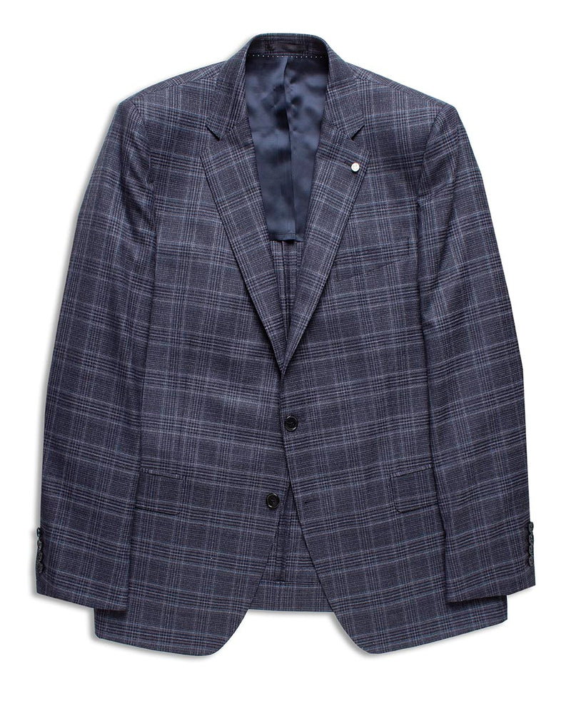 NAVY CHECKED WOOL JACKET